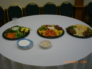 Veggie, fruit, & cheese serving table