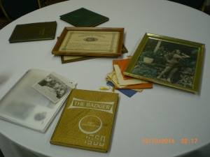 Some of the many mementos brought by Betty Lou Wilson Schoonover - 1946
